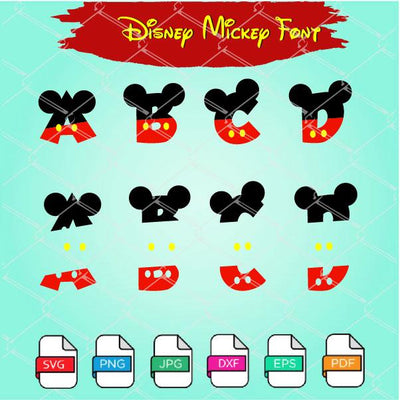 Mickey  Letters SVG - Mickey Font SVG Cut Files Newmody