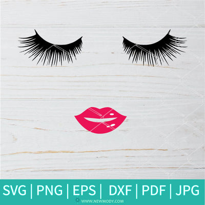Eyelashes and Lips SVG - Smiling Lips Svg