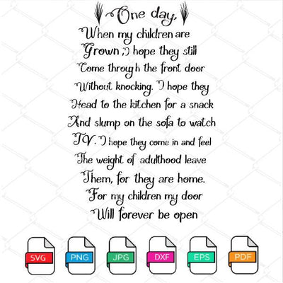 One Day when My Children Are Grown SVG - Newmody