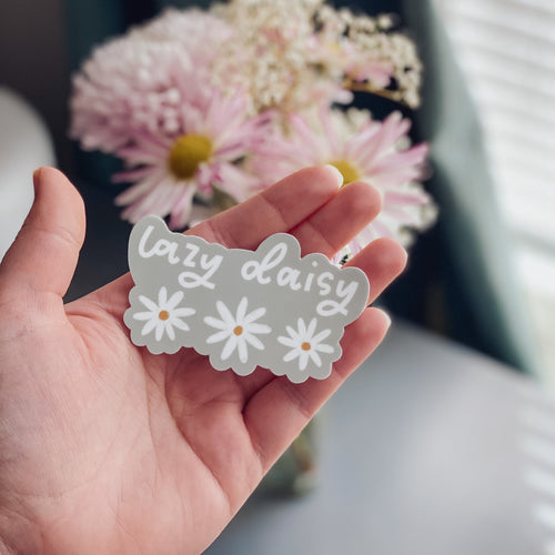 lazy daisy die cut sticker