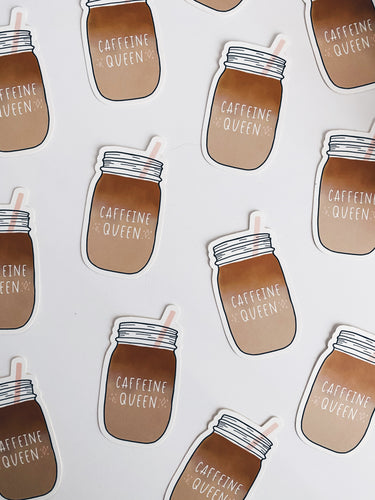 Caffeine Queen Mason Jar Die Cut Sticker