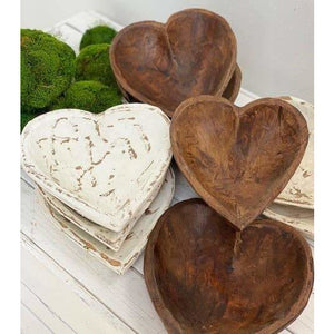 Hand Carved Heart Dough Bowls