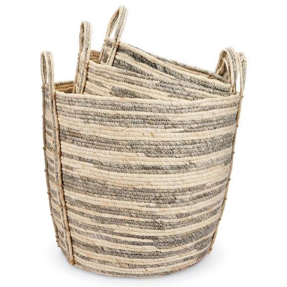 Grey Striped Baskets Assorted