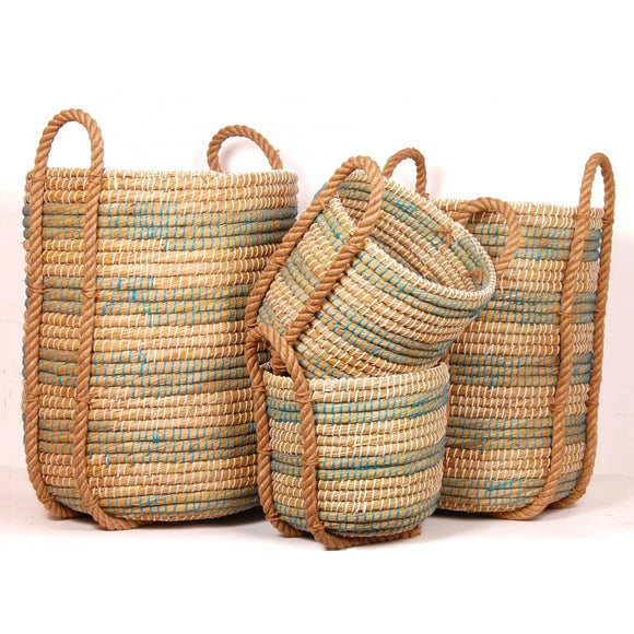 Coiled Grass Decor Basket Blue