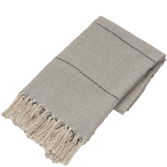 Grey and Natural Stripe Woven Throw