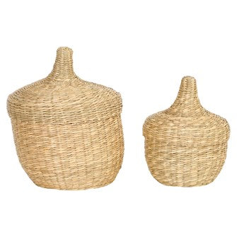 Lidded Seagrass Baskets Assorted