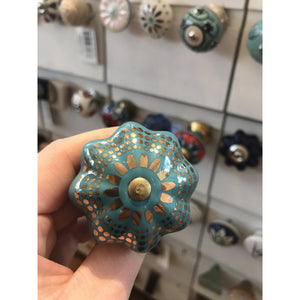 Turquoise and Gold Pumpkin Knob
