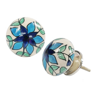Blue Floral & Green Foliage Knob