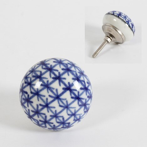 Knob- White with Cobalt Cross