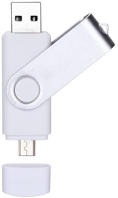 32GB USB OTG Dual Port Usb and Micro Usb Memory Stick Swivel Flash Drive[White]