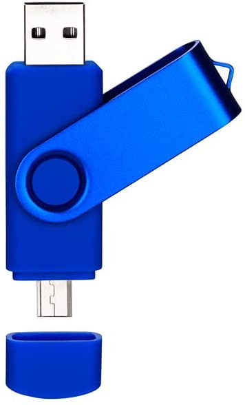 DAMAX-A Dual Usb Flash Drive with OTG 2-Port (Usb and Micro Usb) by DMA, 32GB Memory Stick for Android Smartphone Samsung Tablet & PC [Blue]