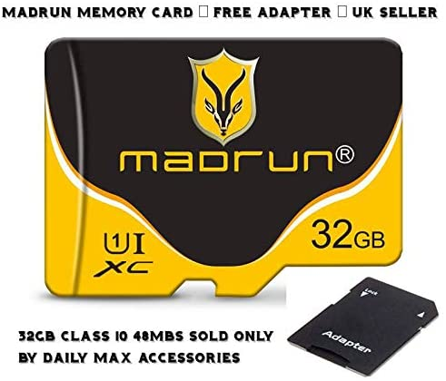 Madrun 32GB Class 10 TF Flash Memory Card Storage MicroSD SDHC Card SHEVO UHS-I Ultra-Fast Speed Up to 48MB/s + Free Adapter for Mobile Phones Tablets Cameras Dashcam