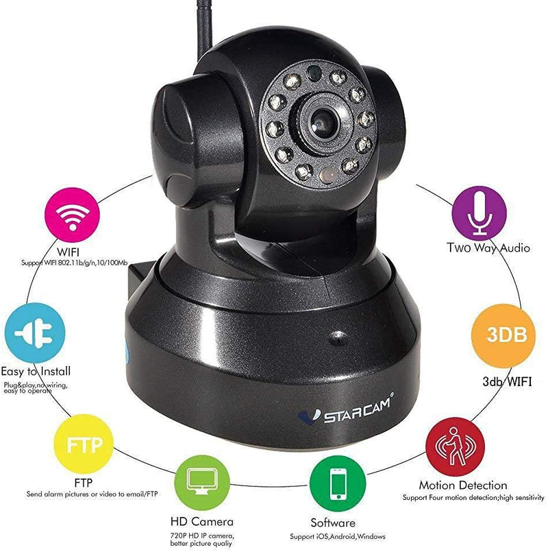 Vstarcam C7837 Home Surveillance Camera Wireless 720P IP Camera Built in Microphone Motion Detection