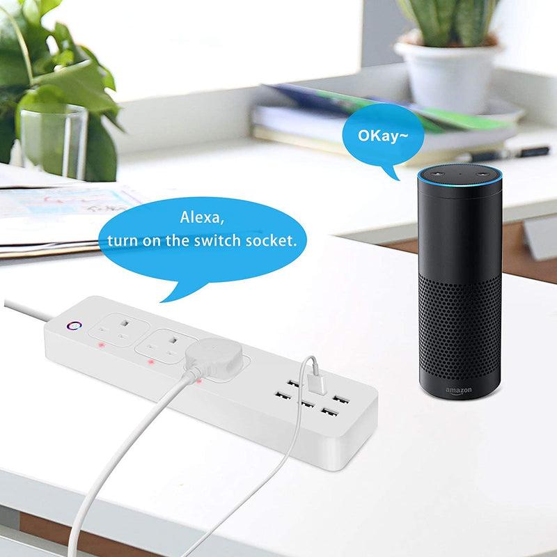 DAMAX-A Smart WiFi Power Strip APP Voice Individual Control Home Assistant 3 AC 6 USB Extension Lead