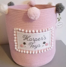 Load image into Gallery viewer, Personalised Pom Basket (pink)