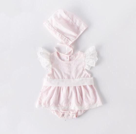 Lacey Pink Romper with Bonnet
