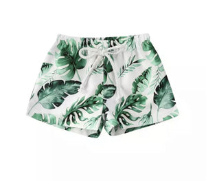 Palm Leaf Print Swim Shorts