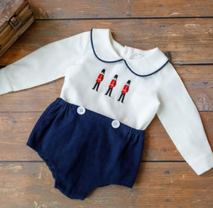 "Luxury Linen ""Little Soldier"" Buster Suit"