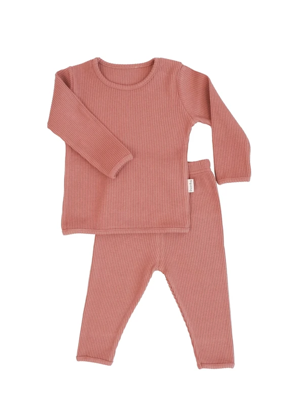 Leather Pink Ribbed Loungewear