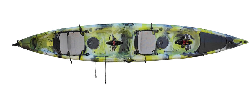 Island-Rip 15 Kayak - Neon Green White Black Camo- Pedal Drive Package