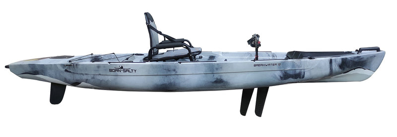 Breakwater 12 Kayak - Gray White Black - Pedal Drive Package