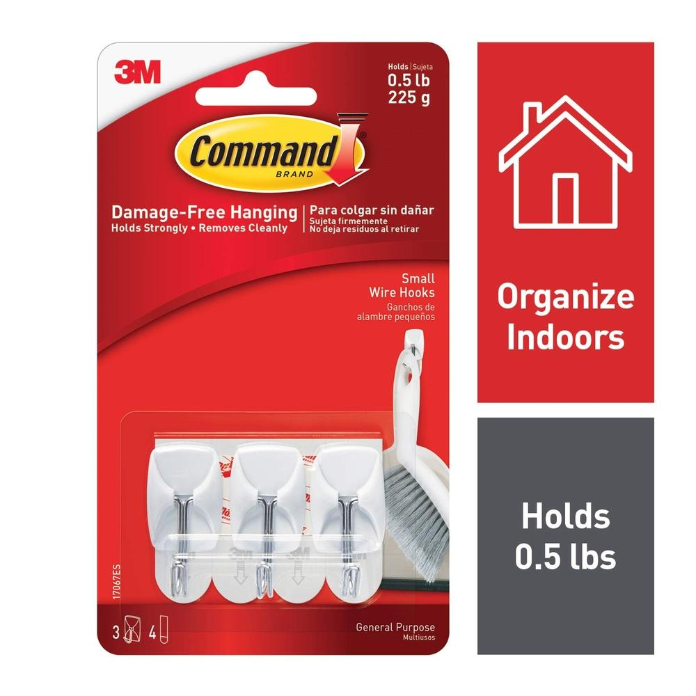 3M Command White Small Wire Hooks 3 hook 4 strip (17067)