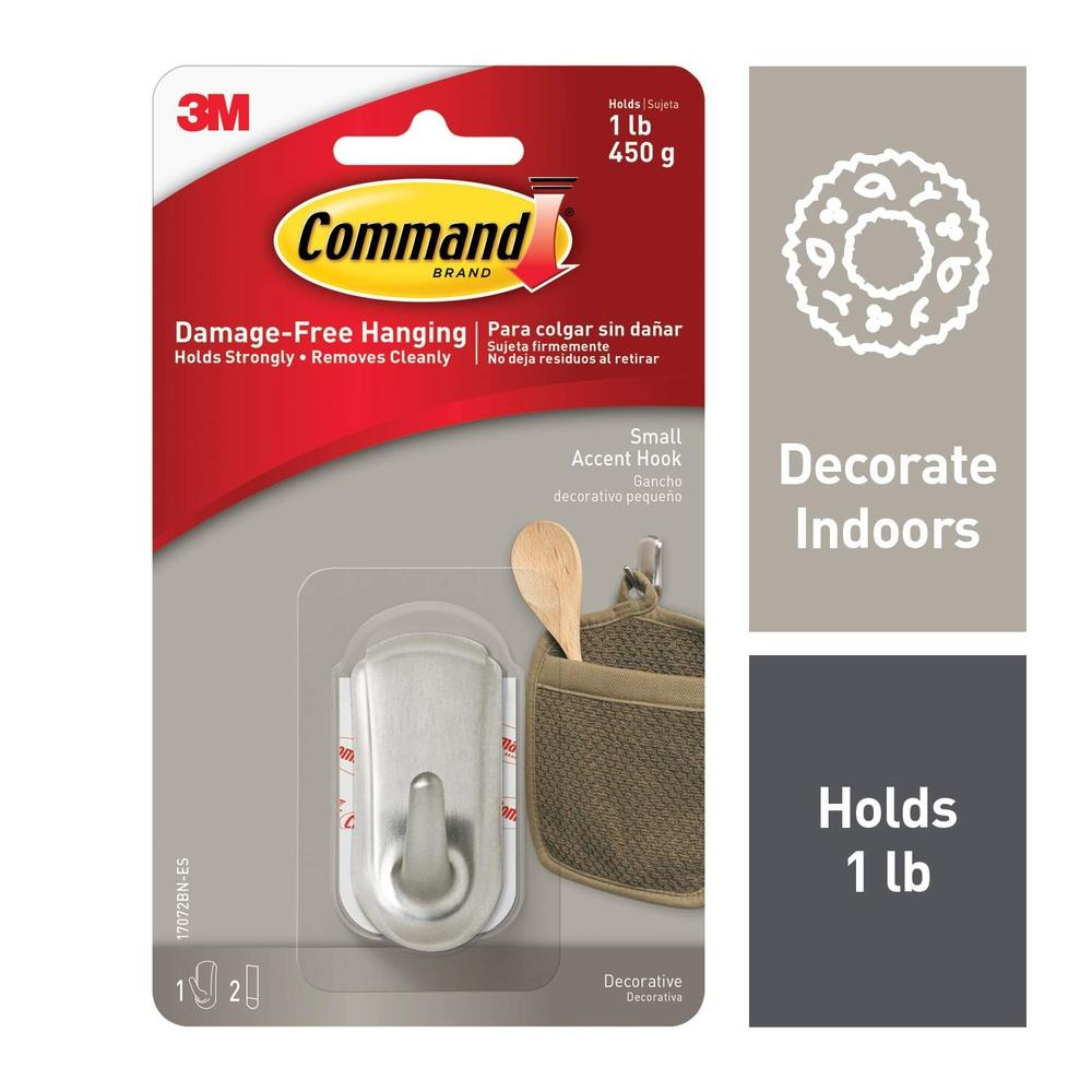 3M Command Accent Small Brushed Nickel Hook (17072BN)