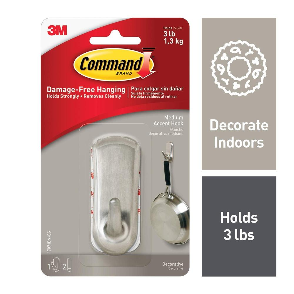 3M Command Accent Medium Brushed Nickel Hook (17071BN)
