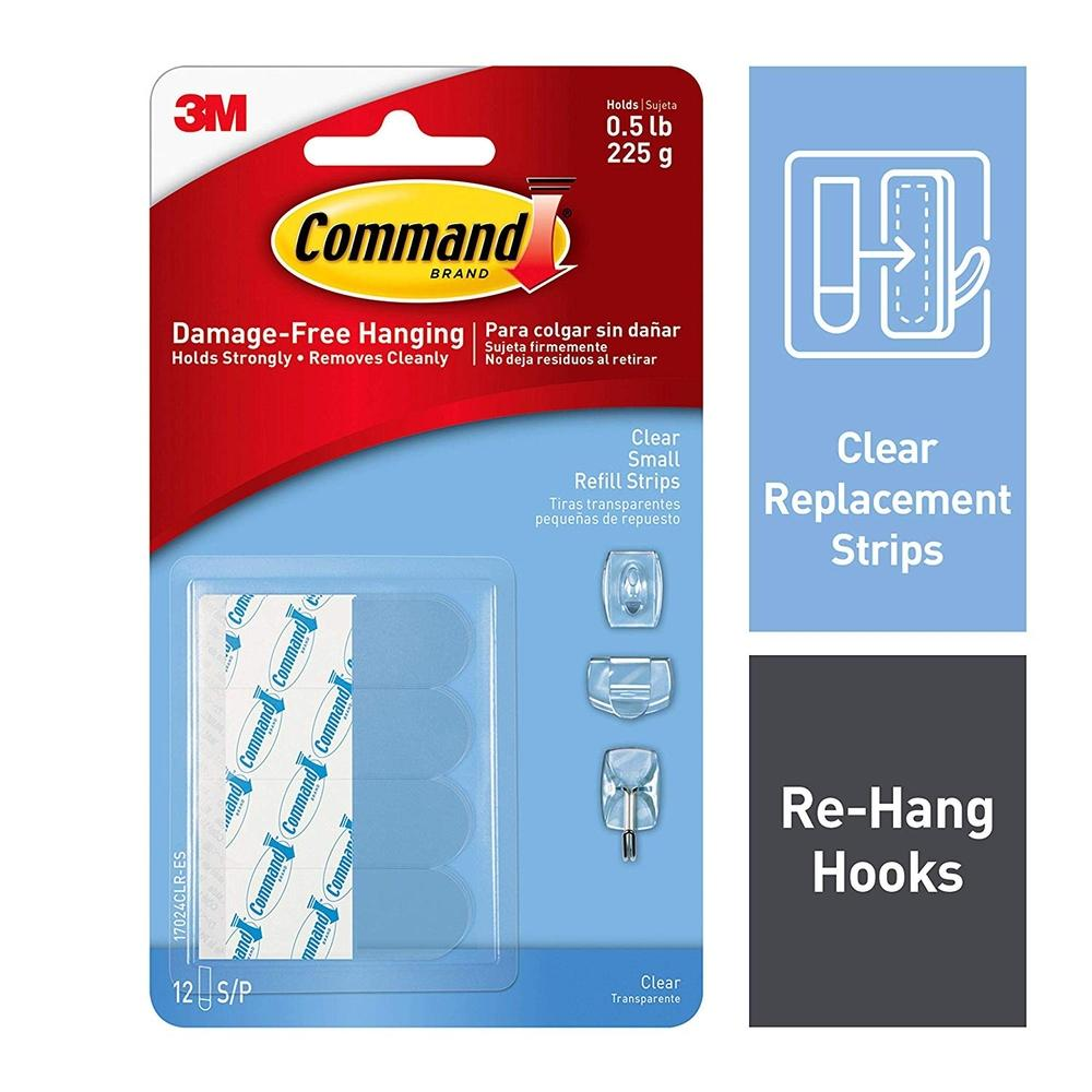 3M Command Clear Small Refill Strips 12 Strips (17024CLR)