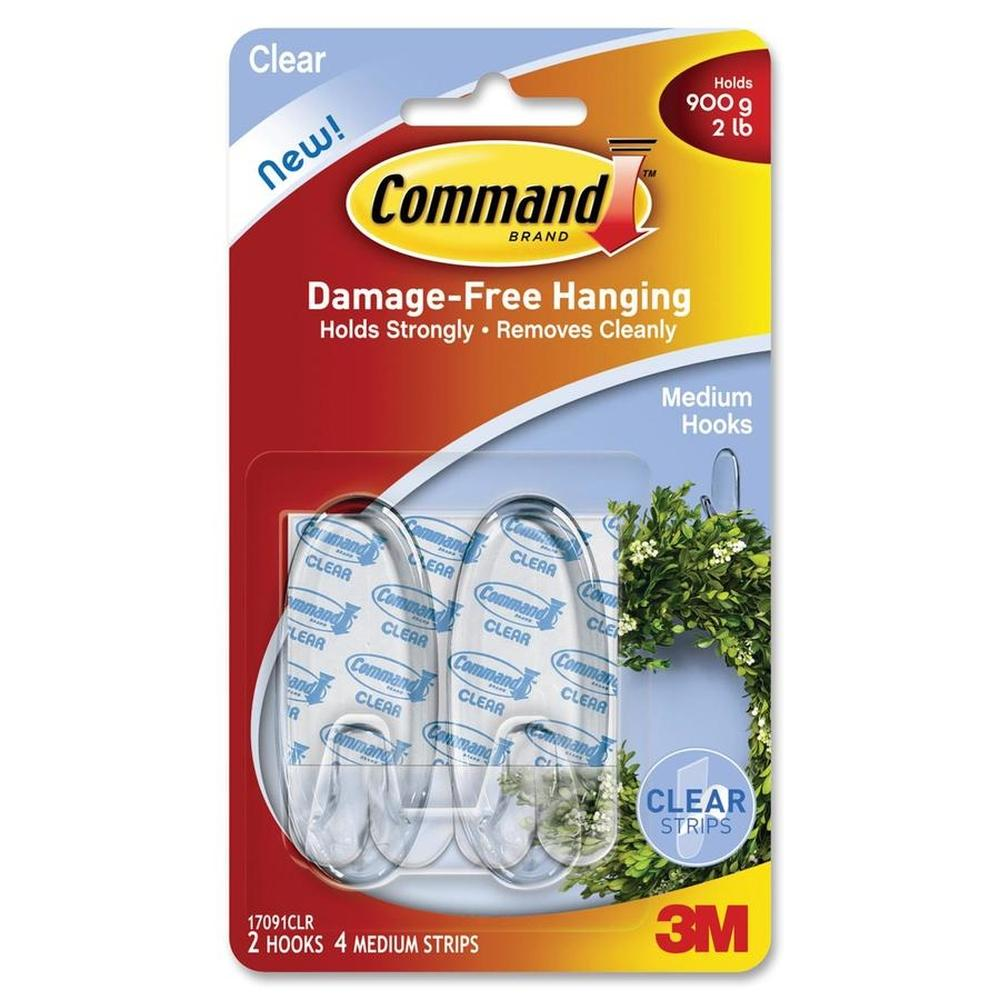 3M Command Clear Medium Hooks 2 Hooks 4 Clear Strips (17091CLR)