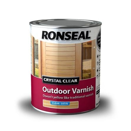 Photo of Ronseal Crystal Clear Outdoor Varnish Satin 750ml