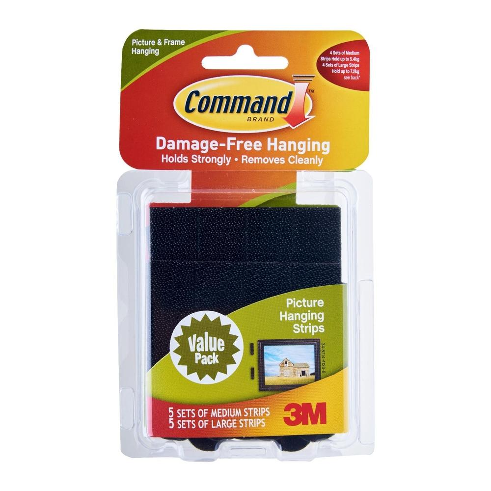 3M Command Medium & Large Picture Hanging Strips (17211BLK)