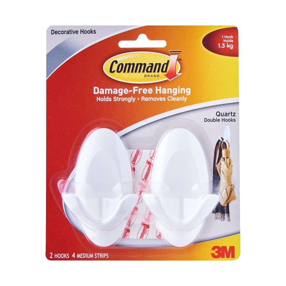 3M Command Double Hook Quartz 2 Hooks 4 Strips (17087Q-2PK)