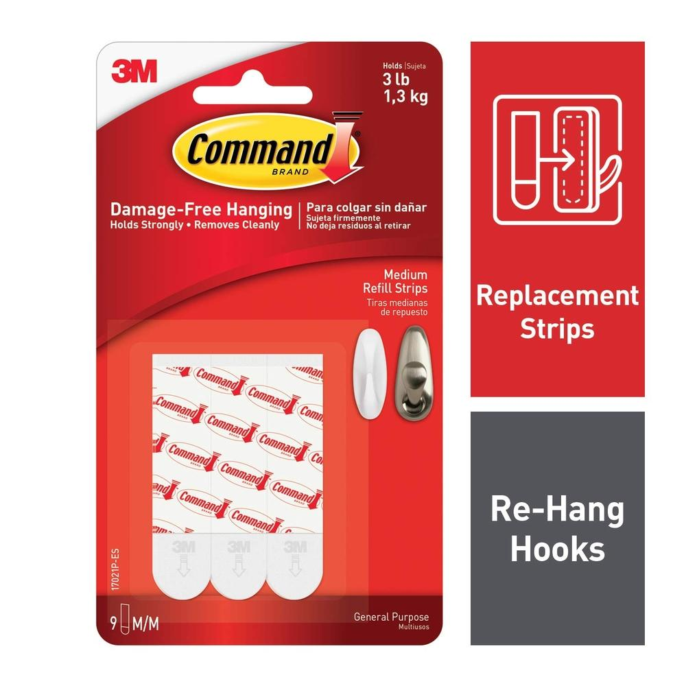 3M Command Medium Refill Strips 12 Strips (17021P-12PK)