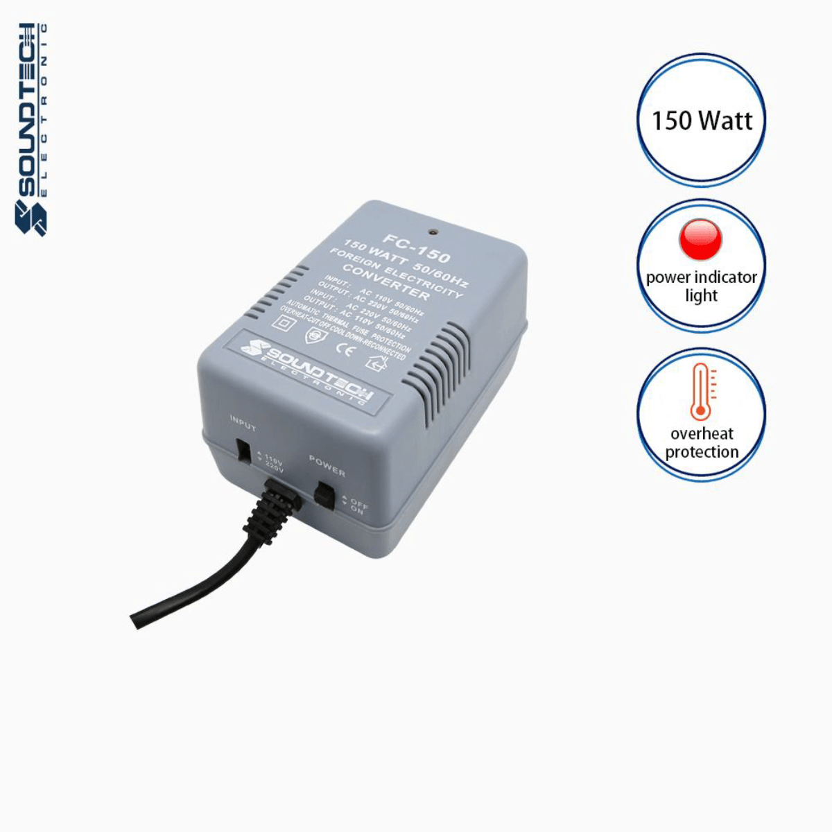Soundteoh 150 Watt Foreign Electricity AC-AC  Converter FC-150