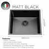 Photo of Matt Black Under-Mount Kitchen Sink