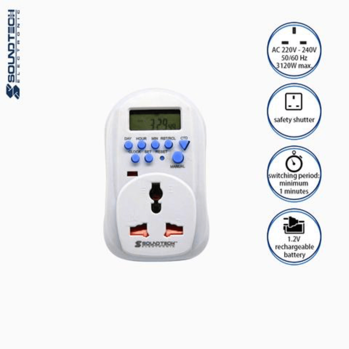 Soundteoh 13A Digital Timer W/Multiway Plug MDT-269