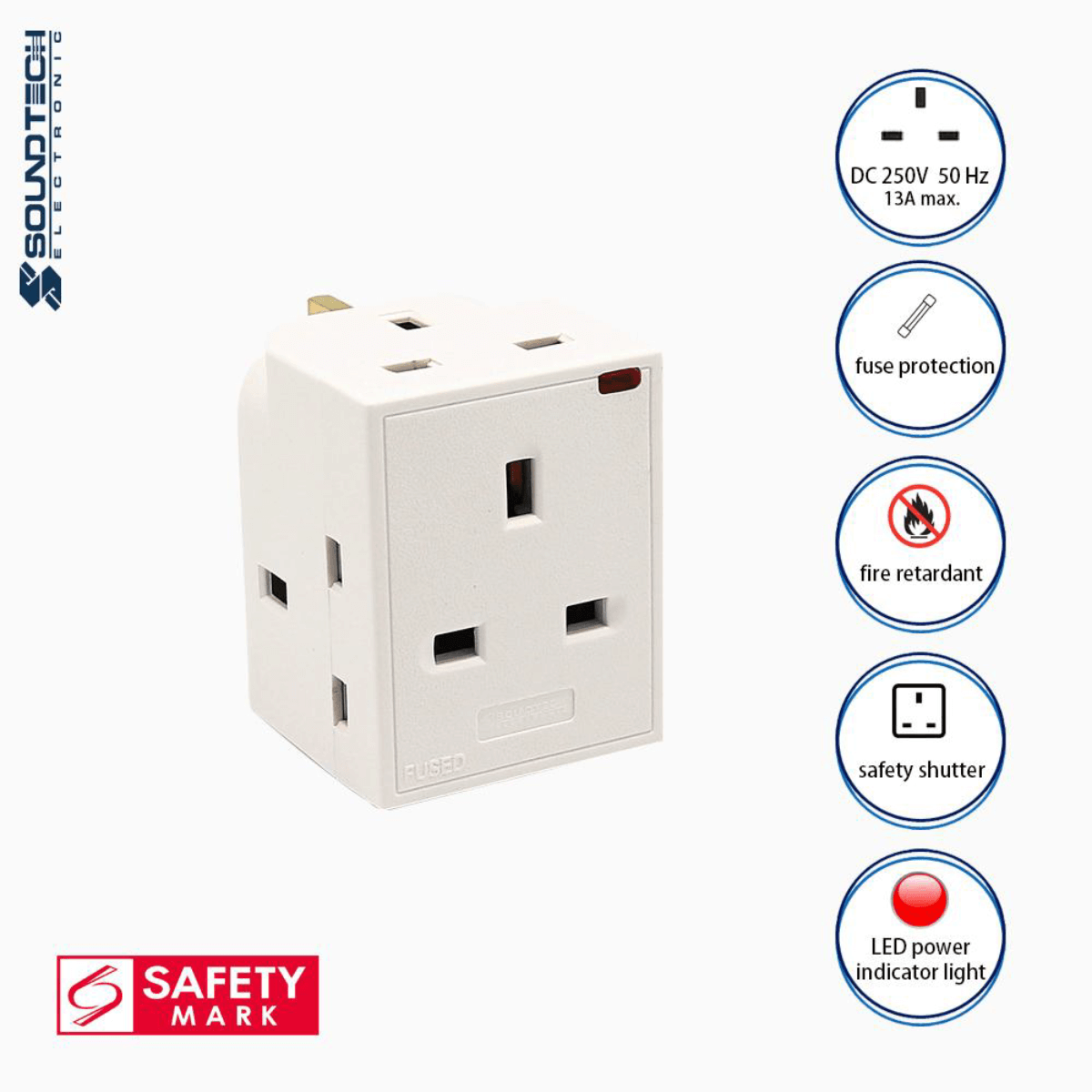 Soundteoh 3 Multiway Adaptor W/ Indicator Light PP-36N