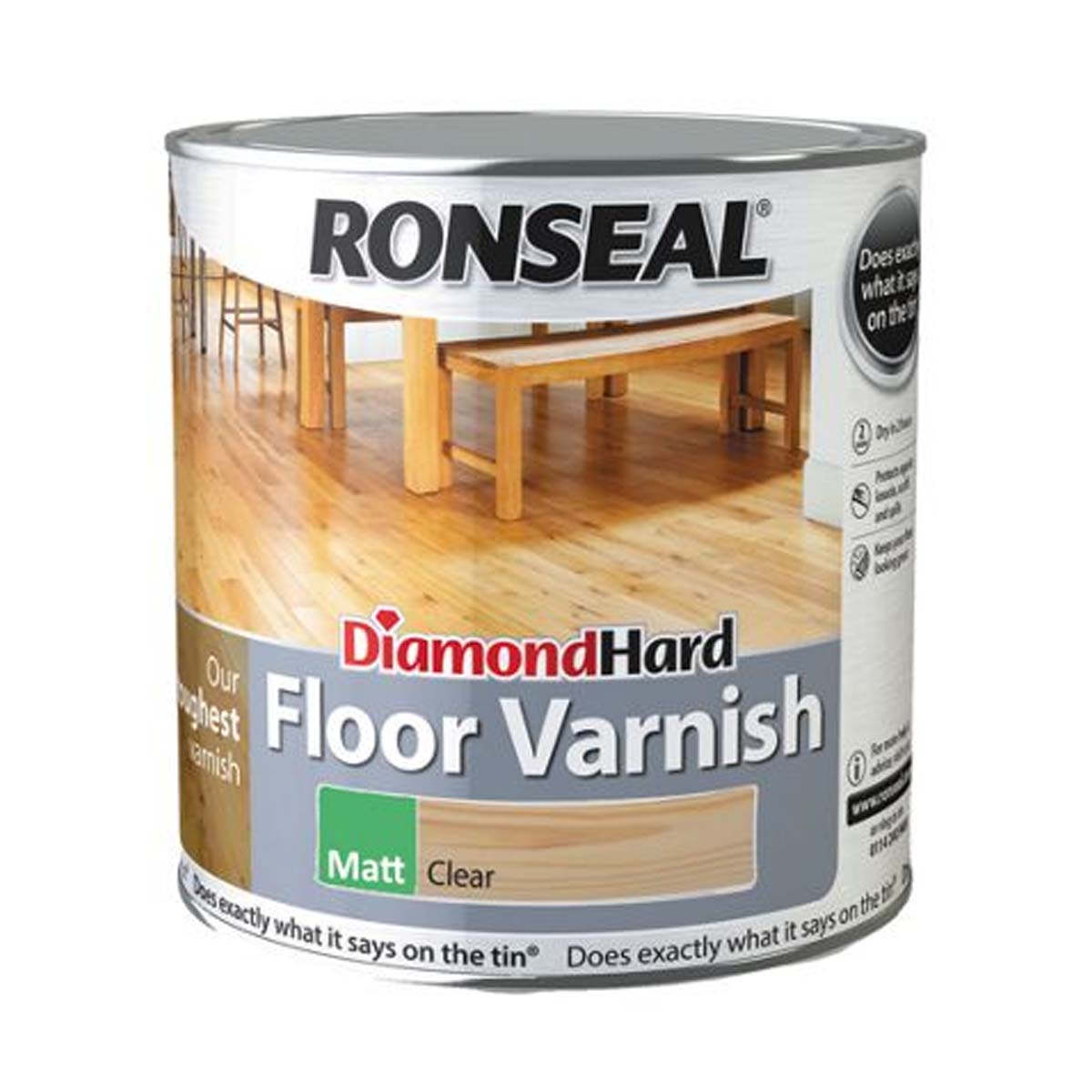 Ronseal Diamond Hard Floor Varnish Clear Matt 2.5L (37539)
