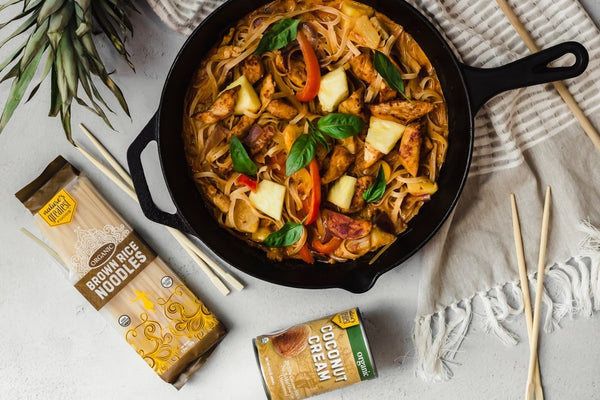 Thai Style Coconut Curry Noodles with Chicken and Pineapple