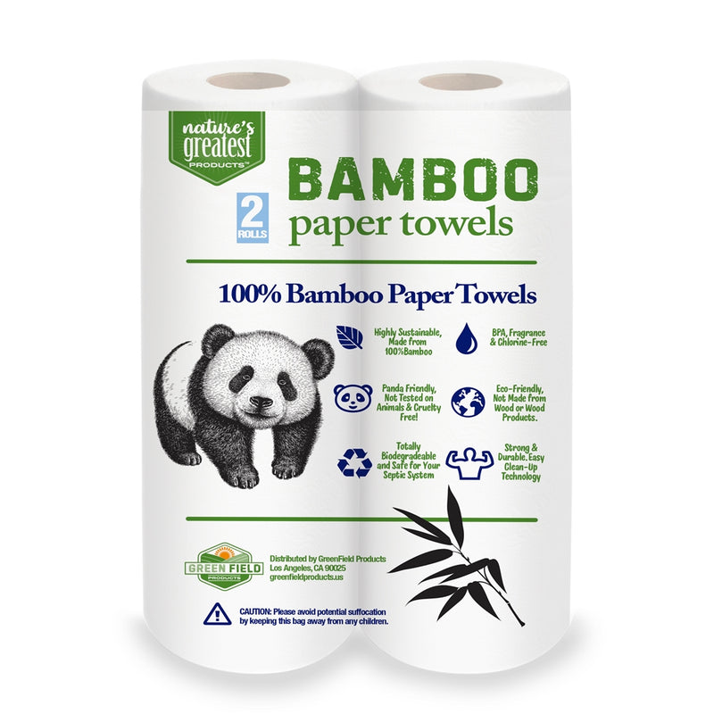 100% Bamboo & Sugarcane Kitchen Paper Towels, 2 Ply, 150 Sheets, 2 Rolls