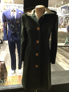 Forrest green cashmere hooded jacket