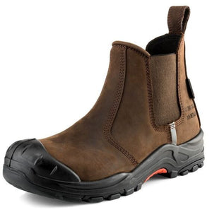 Buckler safety dealer boot in dark brown leather with a super tough anti-scuff toe cap