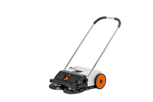 STIHL Multi Level KG 550 Sweeper in black and white with orange wheels, and a sliver handle