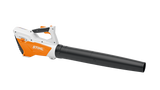 Product image showing the BGA 45 Cordless blower from the side. The blower is white with black and orange details