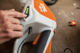 Image shows the STIHL FSA 45 Strimmer and the simple LED Charge Light indicator on the side of the item