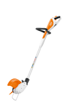 The battery powered STIHL FSA 46 Strimmer showing the angle of the strimmer head. Features a round handle