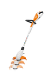 The image shows the STIHL FSA 45 Battery Powered Strimmer, and its adjustable length feature of the main shaft