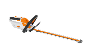 Image shows the STIHL HSA 45 Battery Powered Hedge Trimmer on a transparent background. This trimmer is handheld
