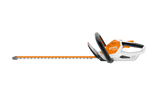 Image shows the STIHL HSA 45 Battery Powered Hedge Trimmer from the side. The Hedge Trimmer is orange and white with black details